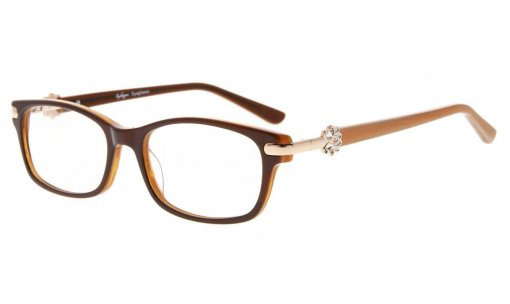 Eyeglasses Quality Spring Hinge Optically Correct Acetate Rx-able Frame for Readers Women Brown FA0072