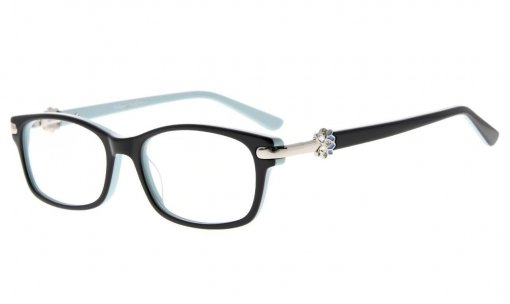 Eyeglasses Quality Spring Hinge Optically Correct Acetate Rx-able Frame for Readers Women Black-Blue FA0072