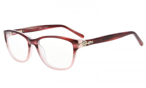 Eyeglasses Stylish Rx-able Acetate Frame with Quality Spring Hinge for Women Red FA0061