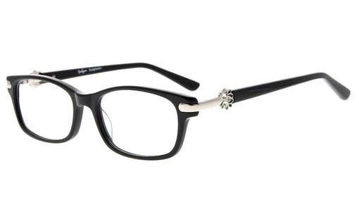 Eyeglasses Quality Spring Hinge Optically Correct Acetate Rx-able Frame for Readers Women Black FA0072