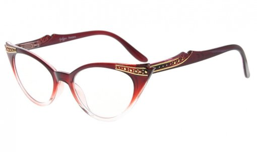 Reading Glasses Cateyes Readers Women Red-Clear R914
