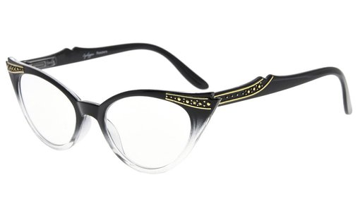 Reading Glasses Cateyes Readers Women Black-Clear R914