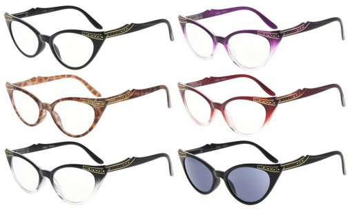 6-Pack Womens Cat Eye Reading Glasses Include Sunshine Readers R914-6pcs-Mix