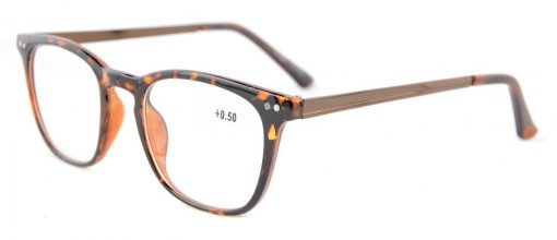 Reading Glasses Retro Square Plastic Frame Metal Arms Readers Tortoise RJ003