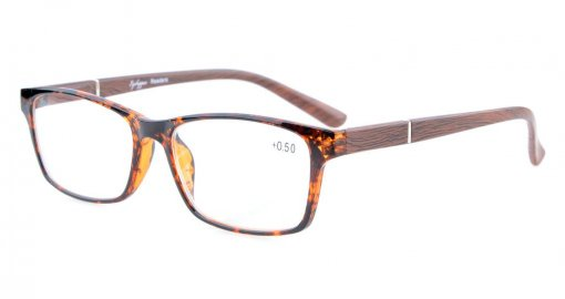 Reading Glasses Spring Hinges Wood-Look Arms Crystal Clear Vision Reader Tortoise-Brown RE19042
