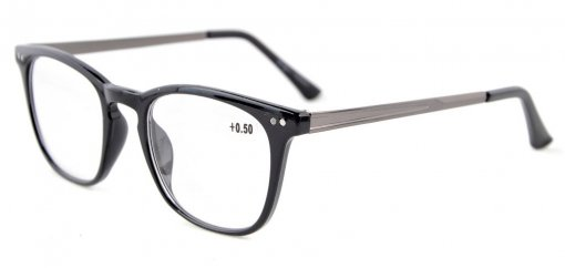 Reading Glasses Retro Square Plastic Frame Metal Arms Readers Black RJ003