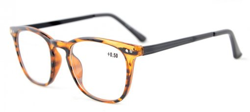 Reading Glasses Retro Square Plastic Frame Metal Arms Readers Amber RJ003