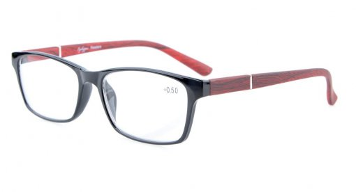 Reading Glasses Spring Hinges Wood-Look Arms Crystal Clear Vision Reader Black-Red RE19042