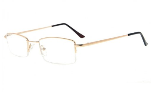 Half-rim Reading Glasses With Flex Memory Titanium Bridge For Men Women Gold R1708