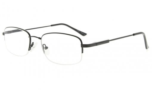 Bendable Titanium Memory Reading Glasses Half-Rim Readers Black R1704