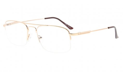 Half-rim Memory Titanium Bendable Reading Glasses Readers Gold R1706