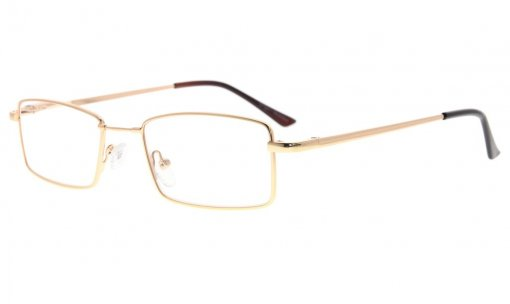 Spring Hinges Reading Glasses With Bendable Memory Titanium Bridge Readers Gold R1709