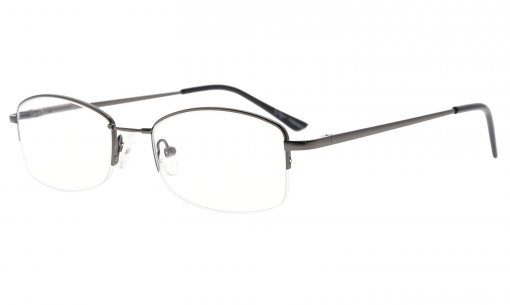 Half-rim Womens Reading Glasses Memory Titanium Bridge Gunmetal R1711