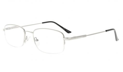 Bendable Titanium Memory Reading Glasses Half-Rim Readers Silver R1704