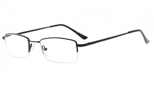 Half-rim Reading Glasses With Flex Memory Titanium Bridge For Men Women Black R1708
