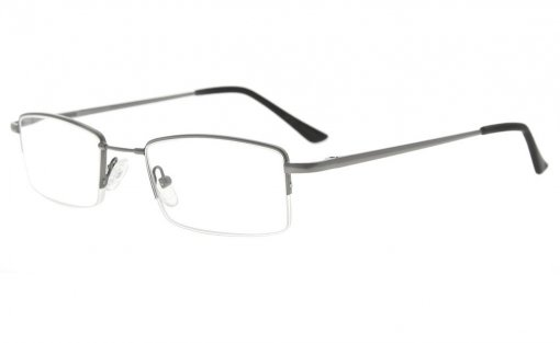 Half-rim Reading Glasses With Flex Memory Titanium Bridge For Men Women Gunmetal R1708