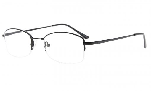 Half-rim Womens Reading Glasses Memory Titanium Bridge Black R1711