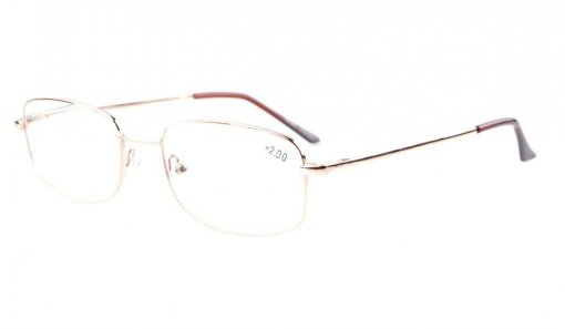 Bridge-flex Memory Titanium Spring Hinges Reading Glasses Gold R1644