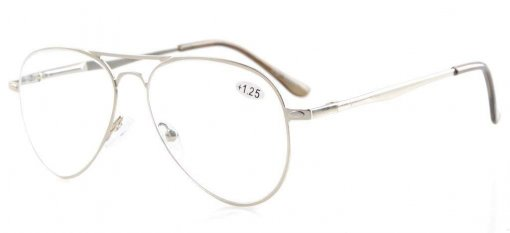 Quality Spring Temples Pilot Style Reading Glasses Silver R15036