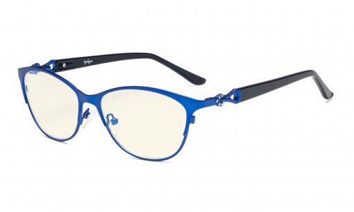 Computer Reading Glasses,Blue Light Filter Readers,Stylish Cateye Oval Reading Eyeglasses Women,Blue LX17021