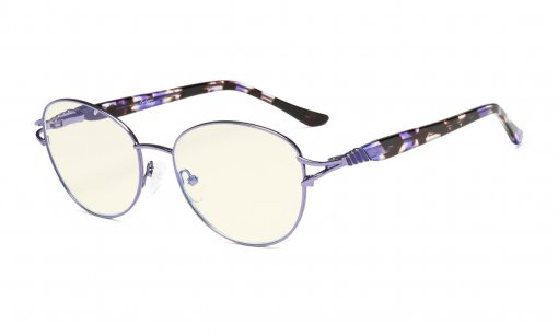 Computer Reading Glasses,Blue Light Filter Readers, Stylish Cateye Round Eyeglasses Women,Purple LX17017