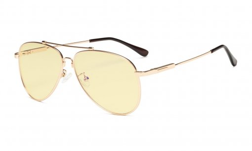Computer Reading Glasses Anti Blue Light Eyeglasses Pilot Style Memory Frame-Yellow Tinted Lens Women Men Gold TMR1801