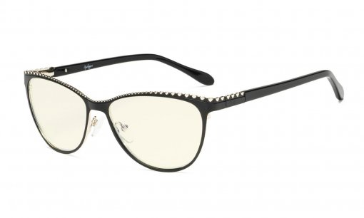 Computer Reading Glasses,Blue Light Filter Readers,Cat-eye Style Women,Burnout Double Color Frame,Black-Silver LX17014