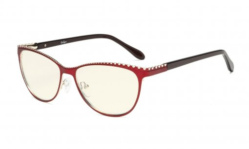 Computer Reading Glasses,Blue Light Filter Readers,Cat-eye Style Women,Burnout Double Color Frame,Red-Gold LX17014