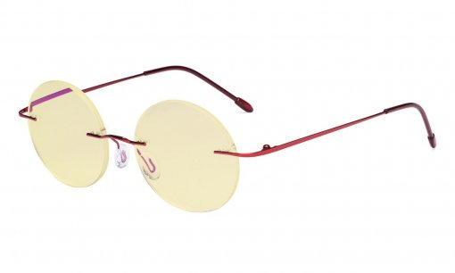 Computer Reading Glasses Blue light Blocking-Round Rimless Readers Men Women Yellow Tinted,Red TMWK26