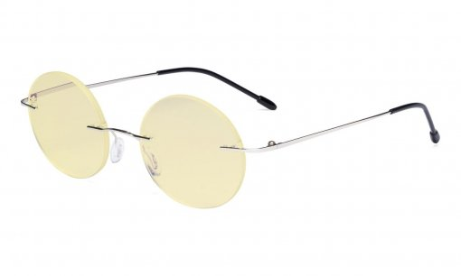 Computer Reading Glasses Blue light Blocking-Round Rimless Readers Men Women Yellow Tinted,Silver TMWK26