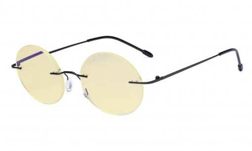 Computer Reading Glasses Blue light Blocking-Round Rimless Readers Men Women Yellow Tinted,Black TMWK26