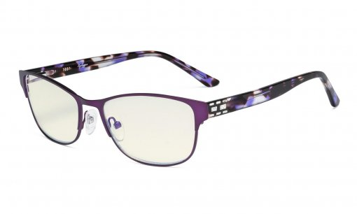 Computer Reading Glasses,Blue Light Filter,Stylish Crystal Readers Women,Purple LX17019