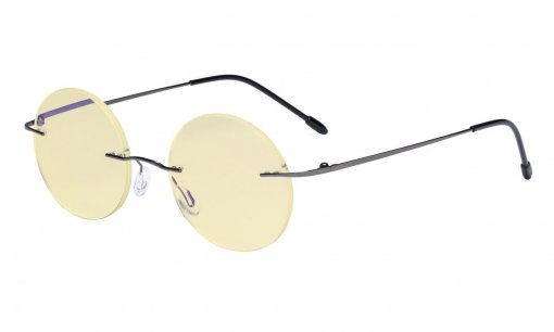 Computer Reading Glasses Blue light Blocking-Round Rimless Readers Men Women Yellow Tinted,Gunmetal TMWK26