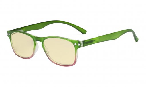 Computer Reading Glasses Blue light Blocking-Stylish Readers Women Yellow Tinted,Green TM046