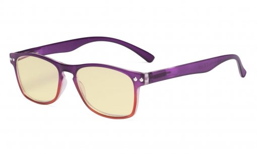 Computer Reading Glasses Blue light Blocking-Stylish Readers Women Yellow Tinted,Purple TM046