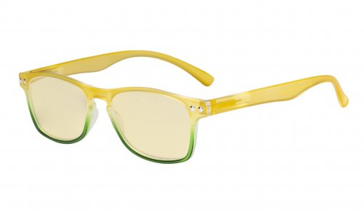 Computer Reading Glasses Blue light Blocking-Stylish Readers Women Yellow Tinted,Yellow TM046