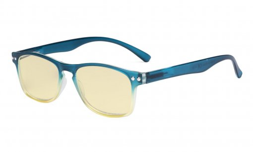 Computer Reading Glasses Blue light Blocking-Stylish Readers Women Yellow Tinted,Blue TM046