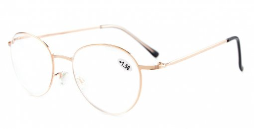Lightweight Oval Retro Reading Glasses Gold R15037