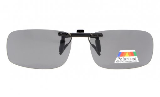 Flip-up Clip-on Sunglasses Polarized 2 1/16 x1 5/16  2-Pack Metal Glasses Clip Grey Lens JQ1-2pcs