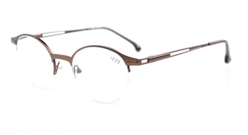 Quality Spring Hinges Half-Rim Oval Round Reading Glasses Brown R1646