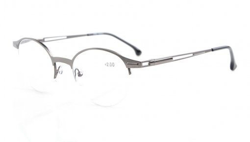 Quality Spring Hinges Half-Rim Oval Round Reading Glasses Gunmetal R1646