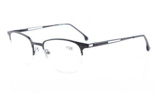 Quality Spring Hinges Half-Rim Reading Glasses Black R1645