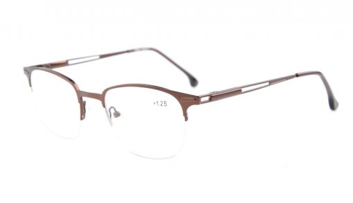 Quality Spring Hinges Half-Rim Reading Glasses Brown R1645