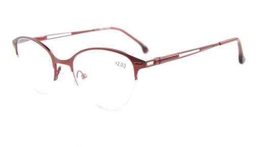 Spring Hinges Half-Rim Cat-eye Style Reading Glasses Red R1648