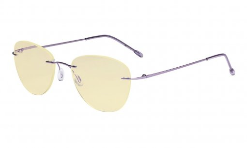 Computer Reading Glasses Blue Light Blocking with Yellow Filter Lens -Rimless Pilot Readers Women,Purple TMWK9901B