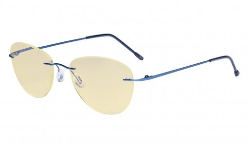Computer Reading Glasses Blue Light Blocking with Yellow Filter Lens -Rimless Pilot Readers Women,Blue TMWK9901B