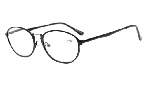 Spring Hinges Retro Reading Glasses Black R1639