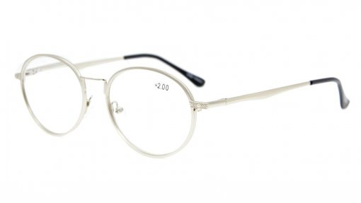 Spring Hinges Oval Reading Glasses Silver R1641