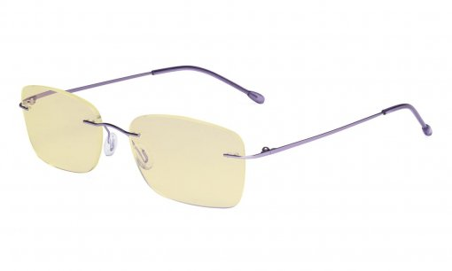 Computer Glasses Women - Blue Light Blocking Readers with Yellow Filter Lens - Lightweight Rimless Reading Eyeglasses,Purple TMWK9905B