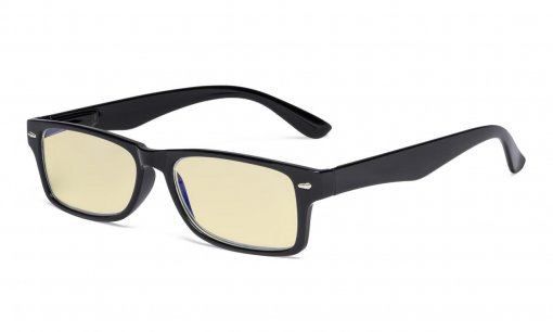 Ladies Blue Light Blocking Reading Glasses with Yellow Filter Lens - Design Computer Readers Women - Black TM066